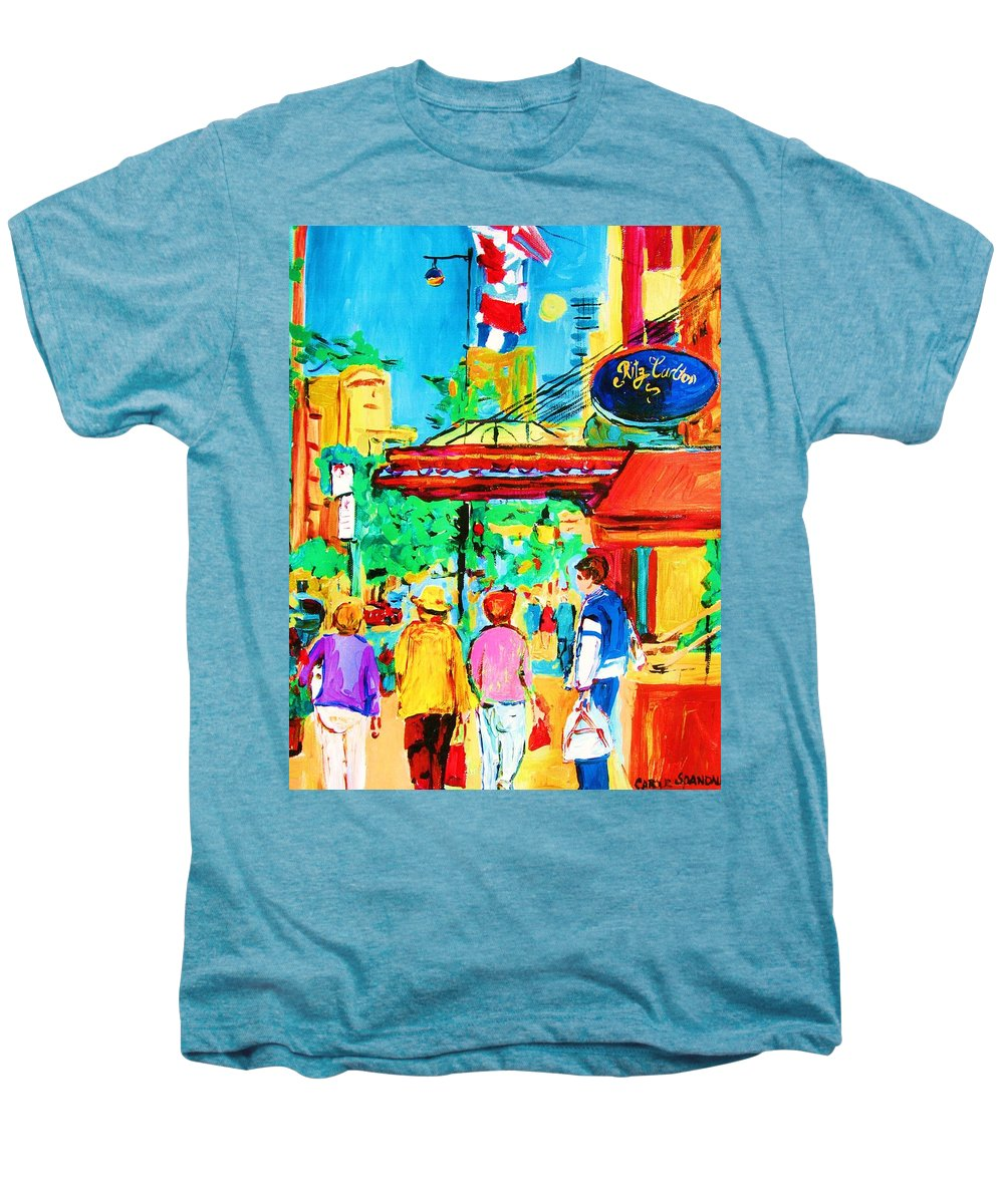 Paintings Of The Ritz Carlton On Sherbrooke Street Montreal Art Men's Premium T-Shirt featuring the painting Springtime Stroll by Carole Spandau