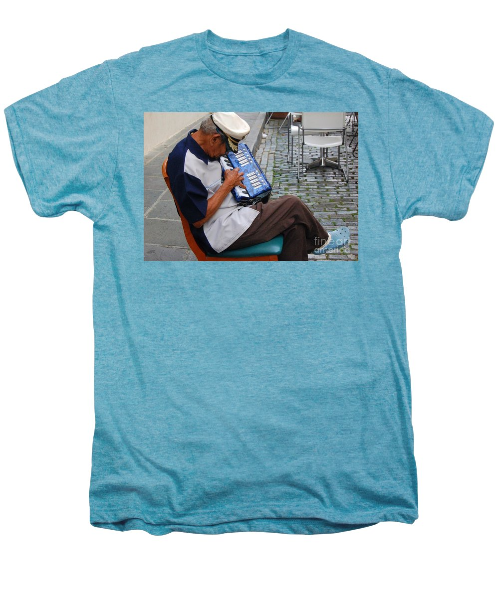 People Men's Premium T-Shirt featuring the photograph Squeeze Box by Debbi Granruth