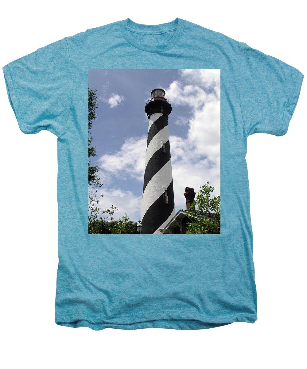 Lighthouse; Light; House; Keeper; St. Augustine; Florida; Coast; Shine; Fog; Storms; U.s.; Coast; Gu Men's Premium T-Shirt featuring the photograph St Augustine Florida Light by Allan Hughes
