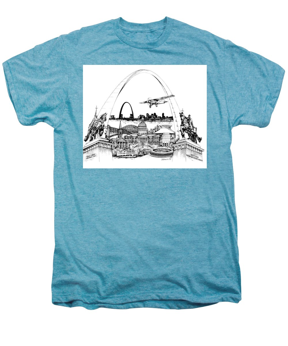 City Drawing Men's Premium T-Shirt featuring the drawing St. Louis Highlights Version 1 by Dennis Bivens
