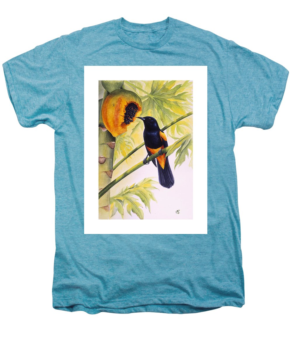 Chris Cox Men's Premium T-Shirt featuring the painting St. Lucia Oriole And Papaya by Christopher Cox