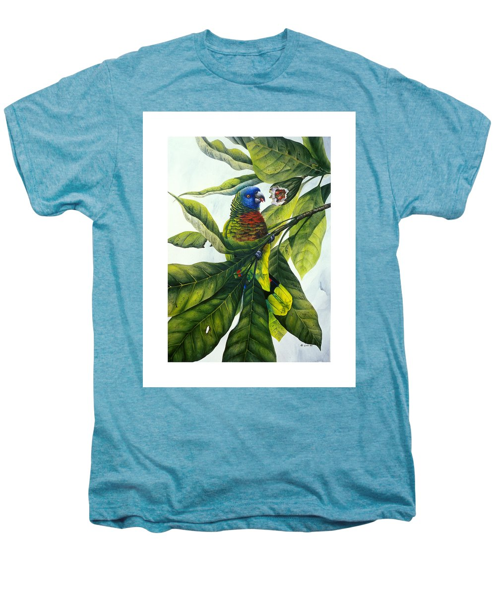 Chris Cox Men's Premium T-Shirt featuring the painting St. Lucia Parrot And Fruit by Christopher Cox