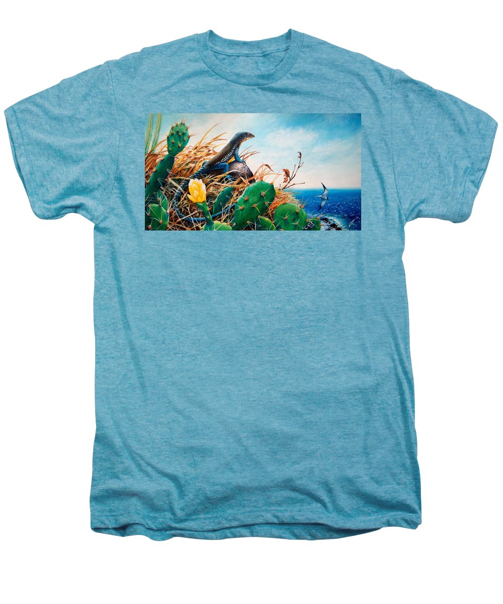 Chris Cox Men's Premium T-Shirt featuring the painting St. Lucia Whiptail by Christopher Cox