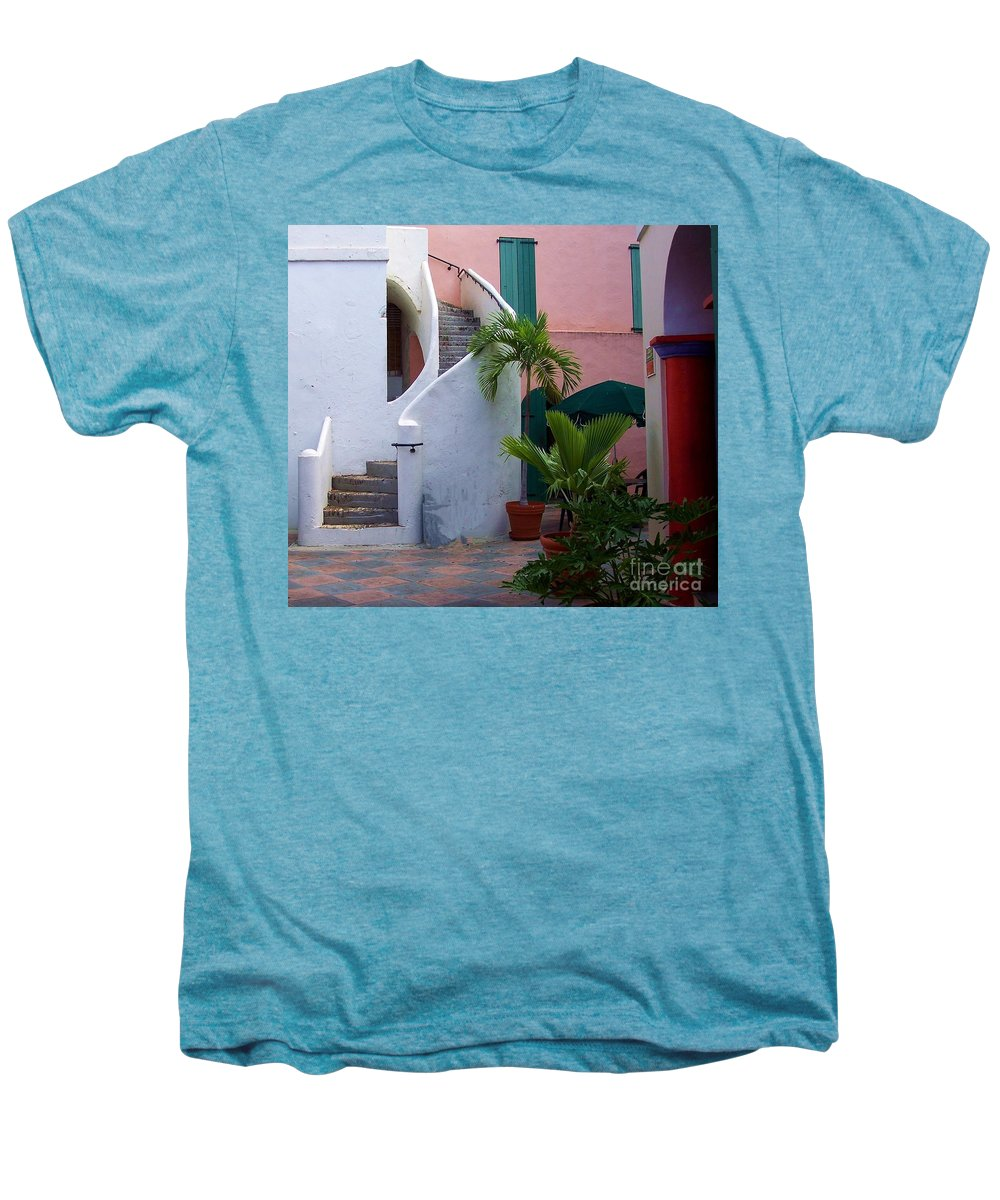 Architecture Men's Premium T-Shirt featuring the photograph St. Thomas Courtyard by Debbi Granruth