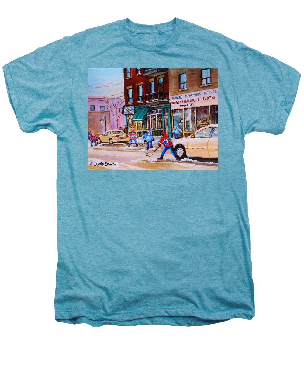 Montreal Men's Premium T-Shirt featuring the painting St. Viateur Bagel With Boys Playing Hockey by Carole Spandau