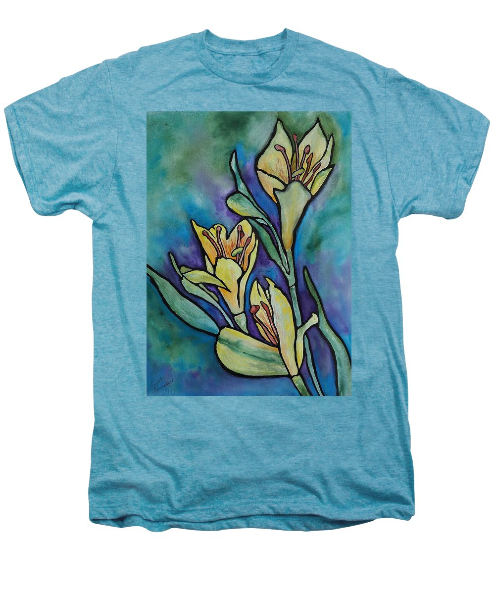Flowers Men's Premium T-Shirt featuring the painting Stained Glass Flowers by Ruth Kamenev