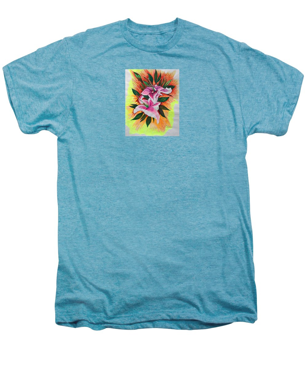 Flowers Men's Premium T-Shirt featuring the drawing Stargazers by J R Seymour