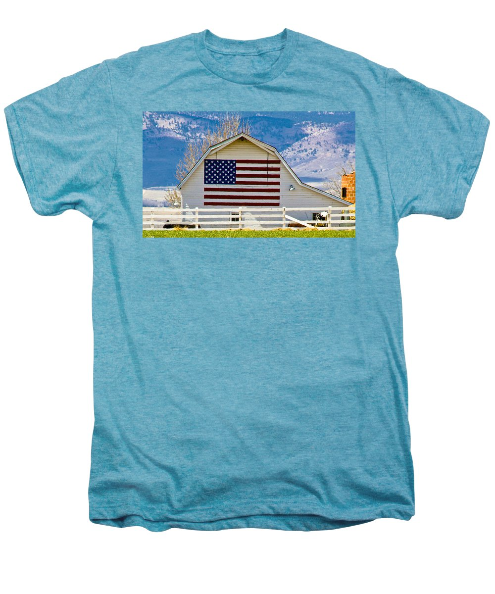 Barn Men's Premium T-Shirt featuring the photograph Stars Stripes And Barns by Marilyn Hunt