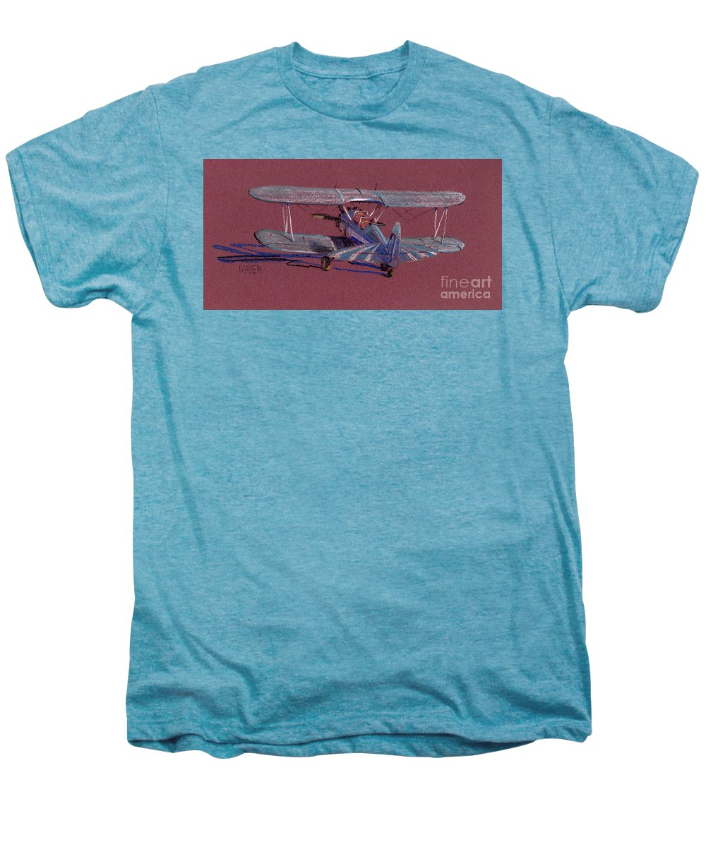 Steerman Biplane Men's Premium T-Shirt featuring the drawing Steerman Biplane by Donald Maier