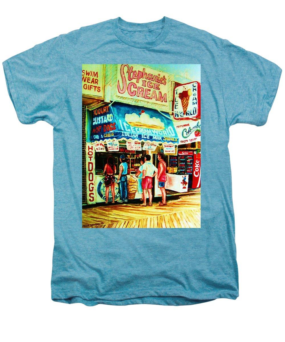 Children Men's Premium T-Shirt featuring the painting Stephanies Icecream Stand by Carole Spandau