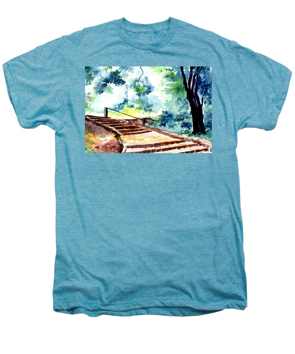 Landscape Men's Premium T-Shirt featuring the painting Steps To Eternity by Anil Nene