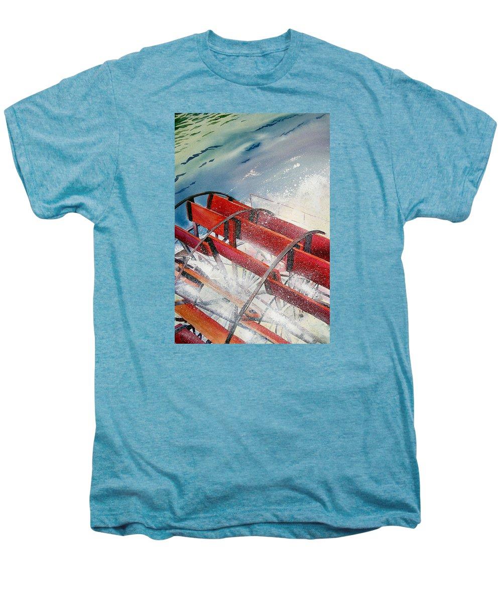 Paddlewheeler Men's Premium T-Shirt featuring the painting Sternwheeler Splash by Karen Stark