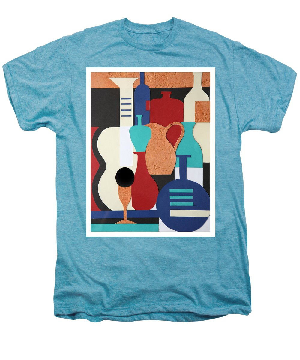 Still Life Men's Premium T-Shirt featuring the mixed media Still Life Paper Collage Of Wine Glasses Bottles And Musical Instruments by Mal Bray