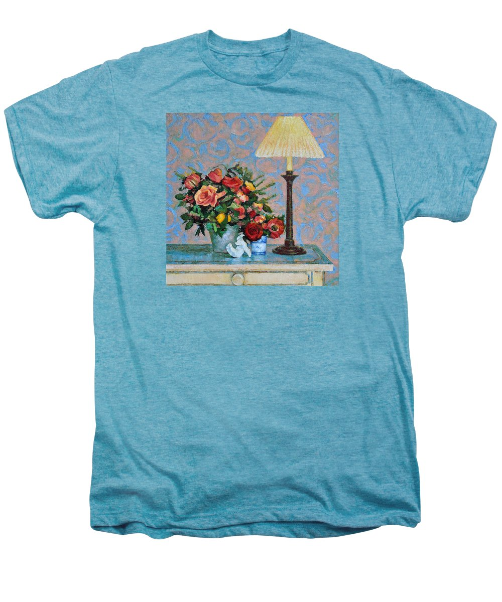 Flowers Men's Premium T-Shirt featuring the painting Still Life With A Lamp by Iliyan Bozhanov