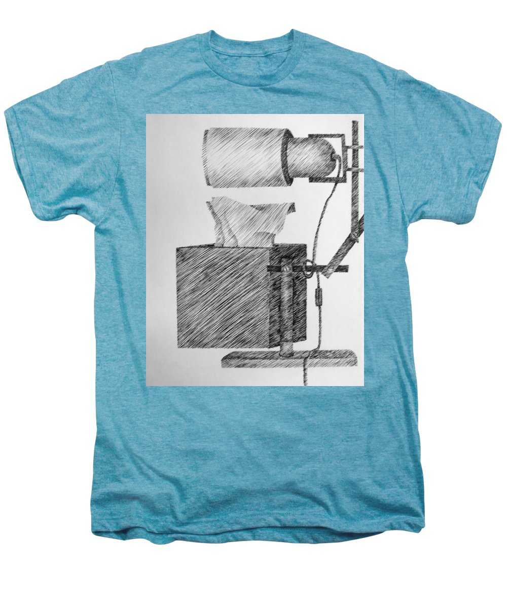 Still Life Men's Premium T-Shirt featuring the drawing Still Life With Lamp And Tissues by Michelle Calkins
