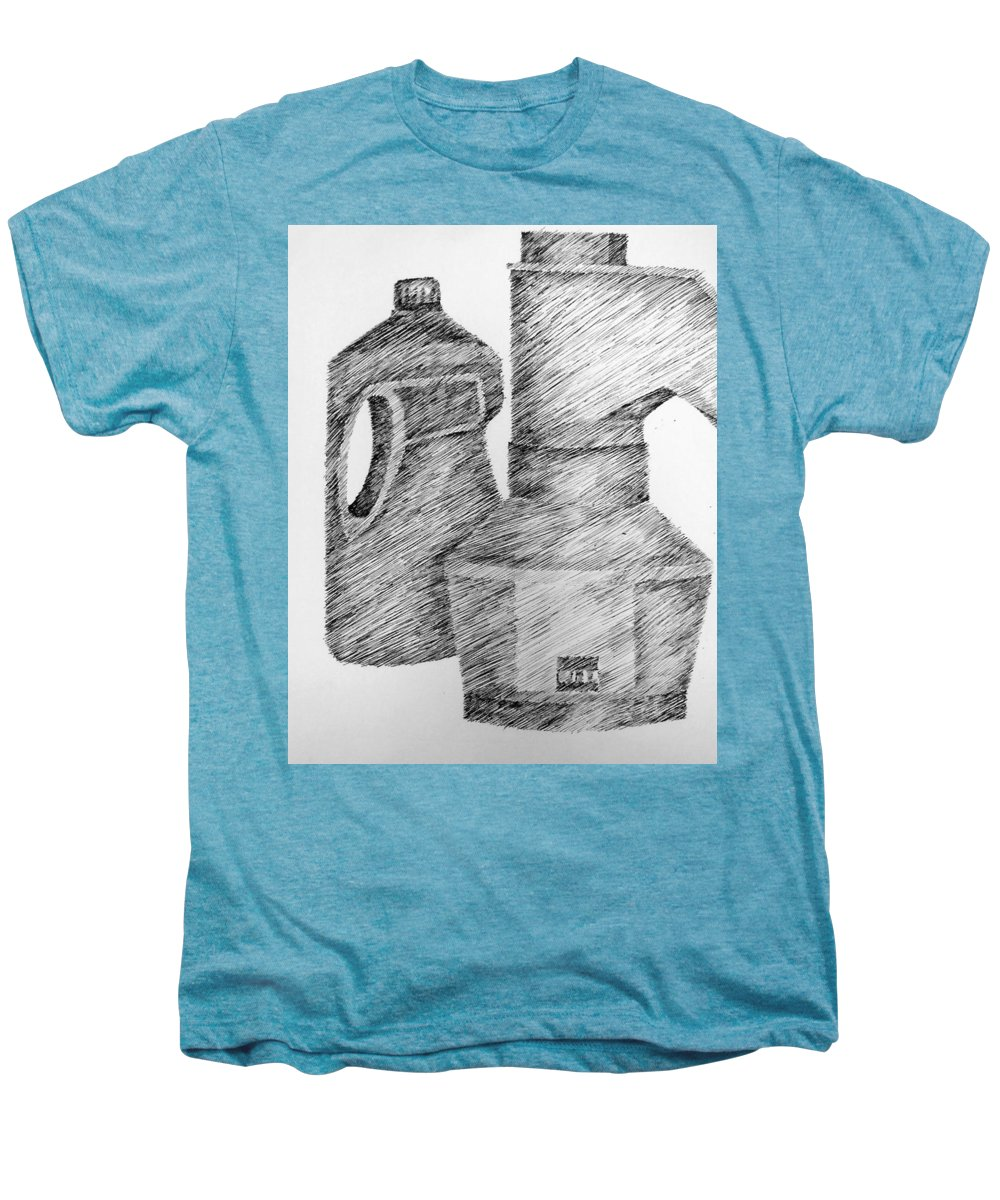 Still Life Men's Premium T-Shirt featuring the drawing Still Life With Popcorn Maker And Laundry Soap Bottle by Michelle Calkins