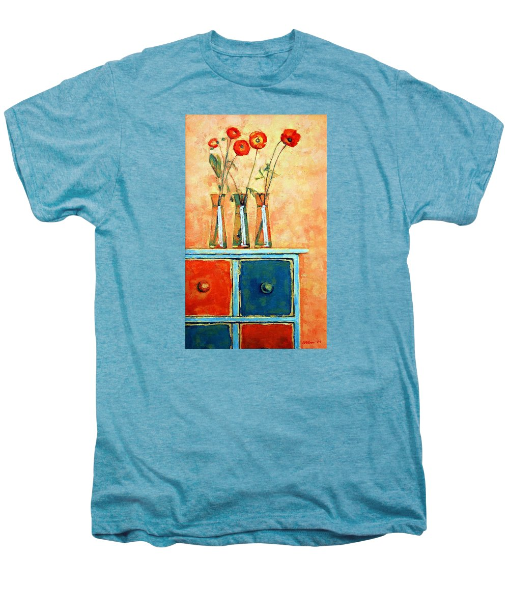Poppies Men's Premium T-Shirt featuring the painting Still Life With Poppies by Iliyan Bozhanov