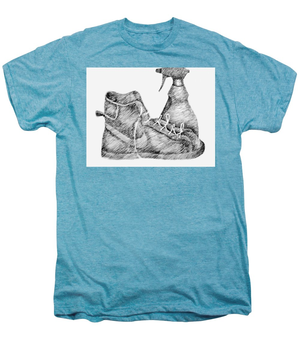 Pen Men's Premium T-Shirt featuring the drawing Still Life With Shoe And Spray Bottle by Michelle Calkins