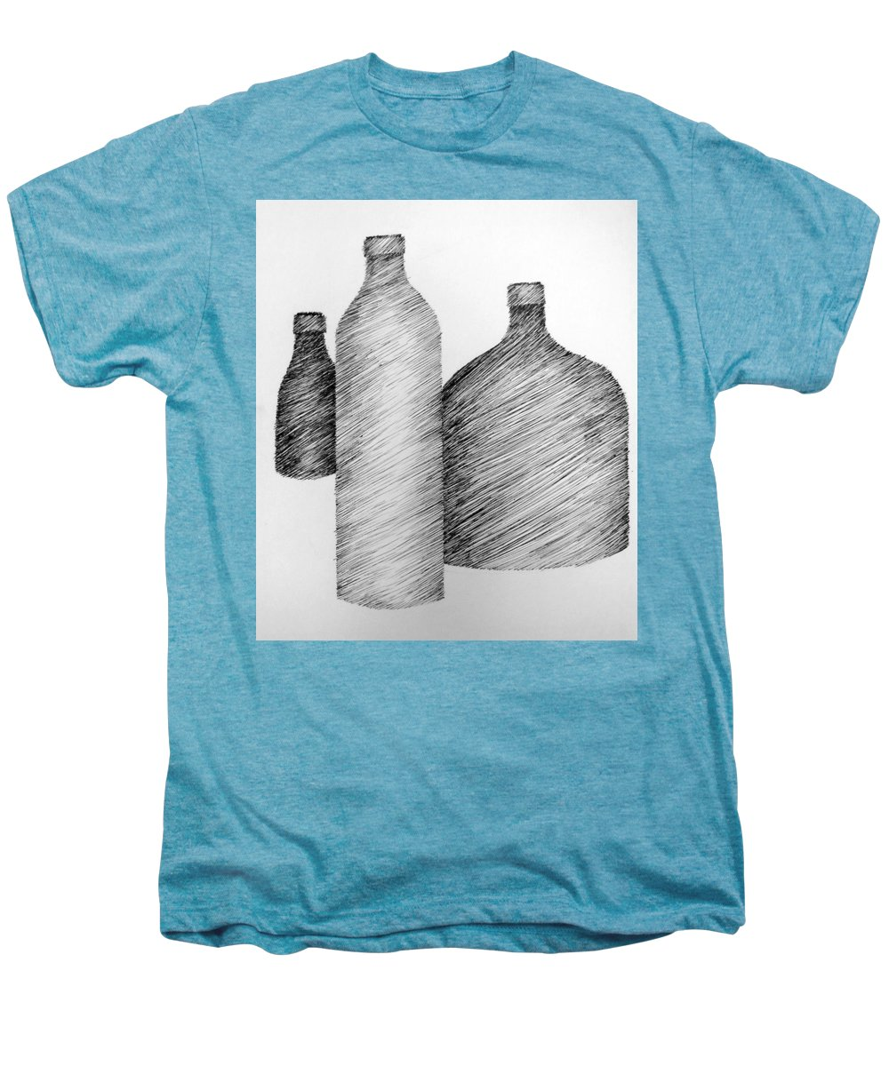 Still Life Men's Premium T-Shirt featuring the drawing Still Life With Three Bottles by Michelle Calkins