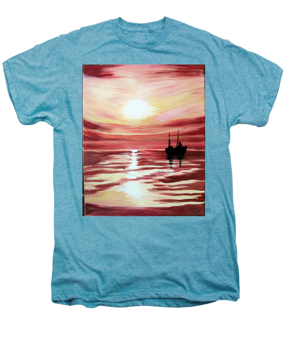 Seascape Men's Premium T-Shirt featuring the painting Still Waters Run Deep by Marco Morales