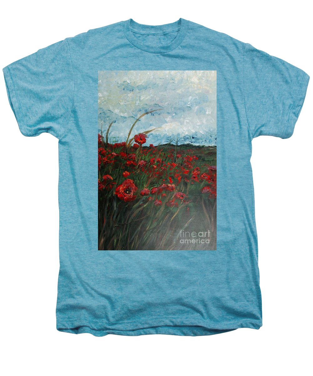 Poppies Men's Premium T-Shirt featuring the painting Stormy Poppies by Nadine Rippelmeyer