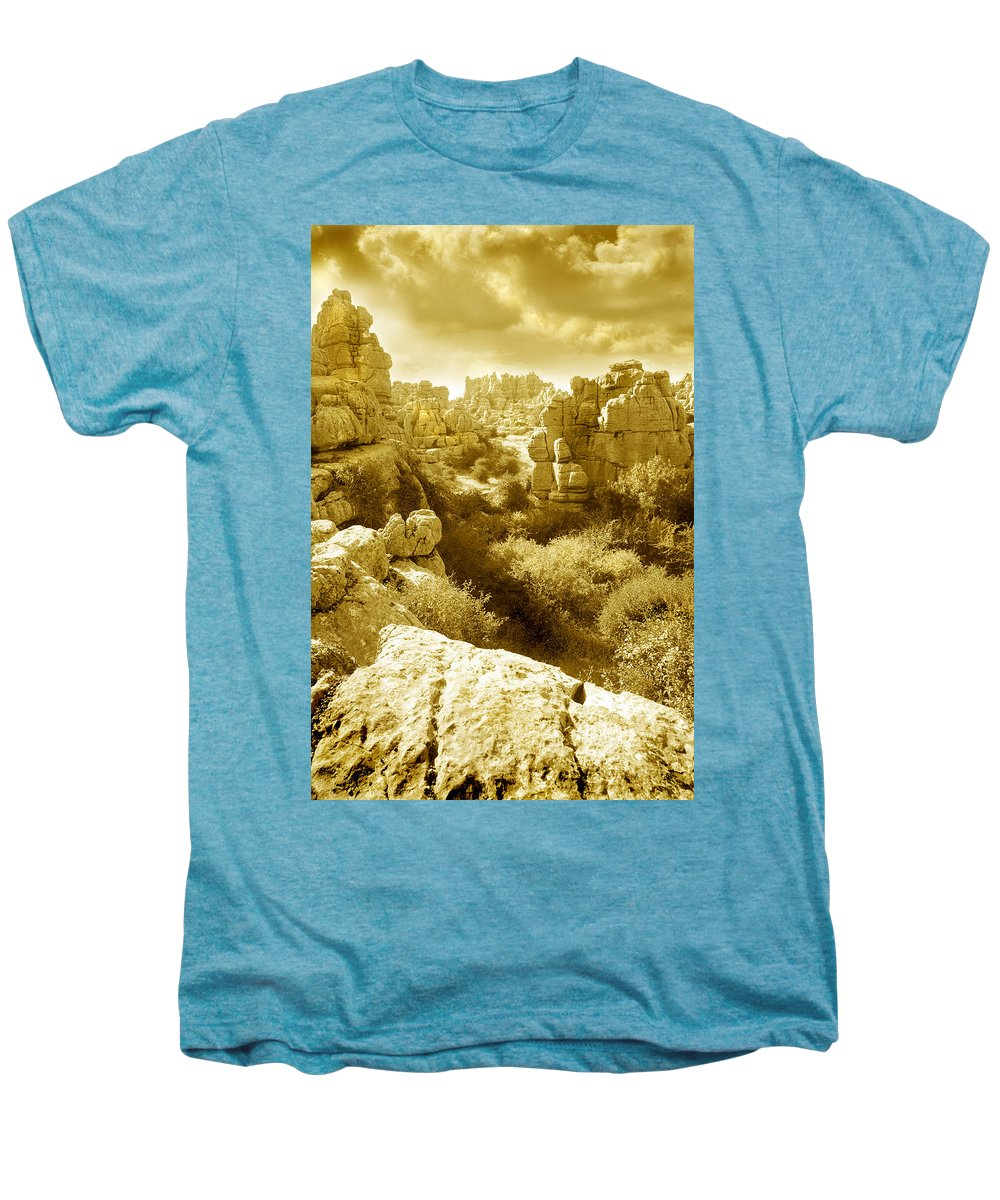 Rock Men's Premium T-Shirt featuring the photograph Strange Rock Formations At El Torcal Near Antequera Spain by Mal Bray