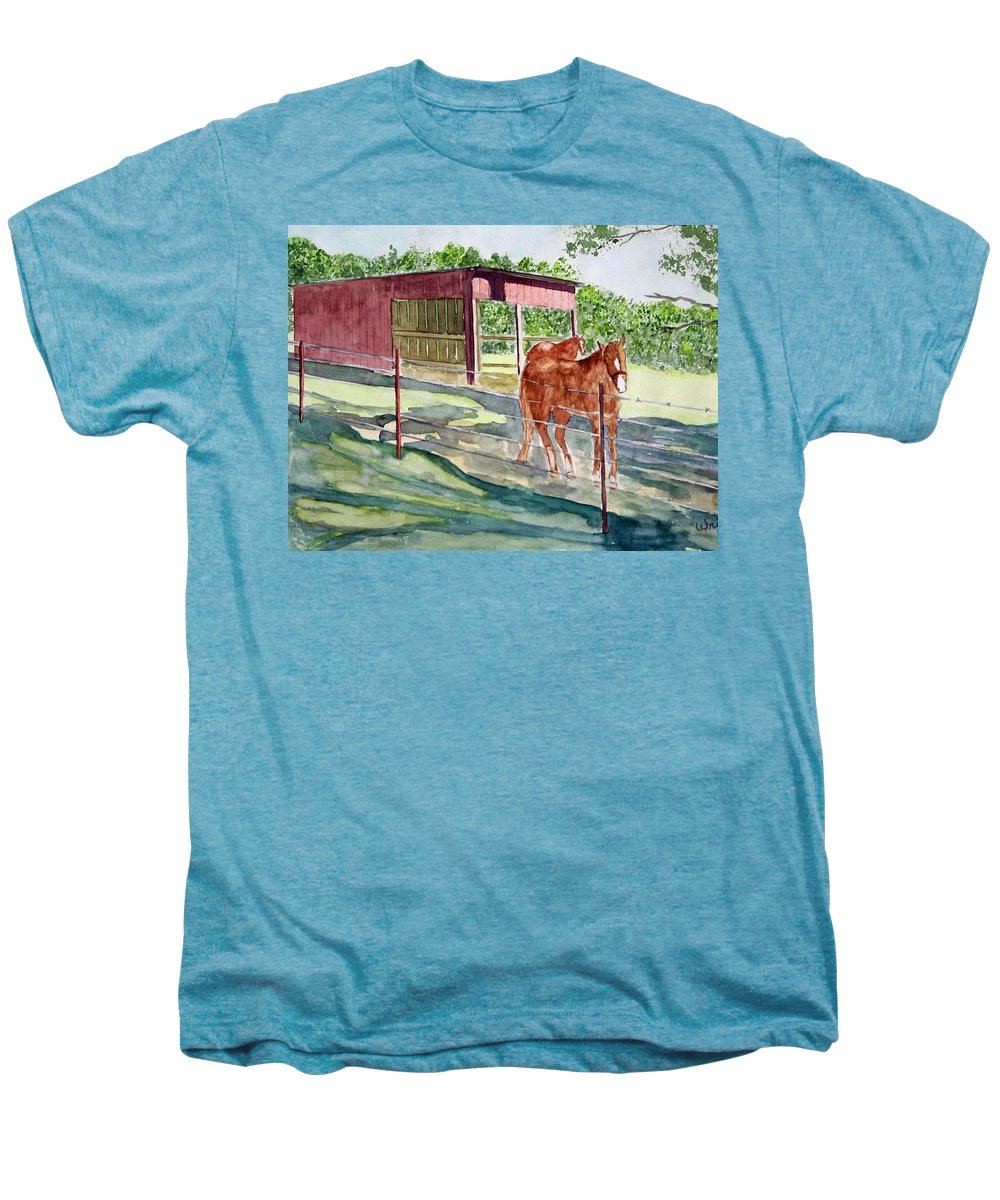 Horse Art Men's Premium T-Shirt featuring the painting Summer Shade by Larry Wright