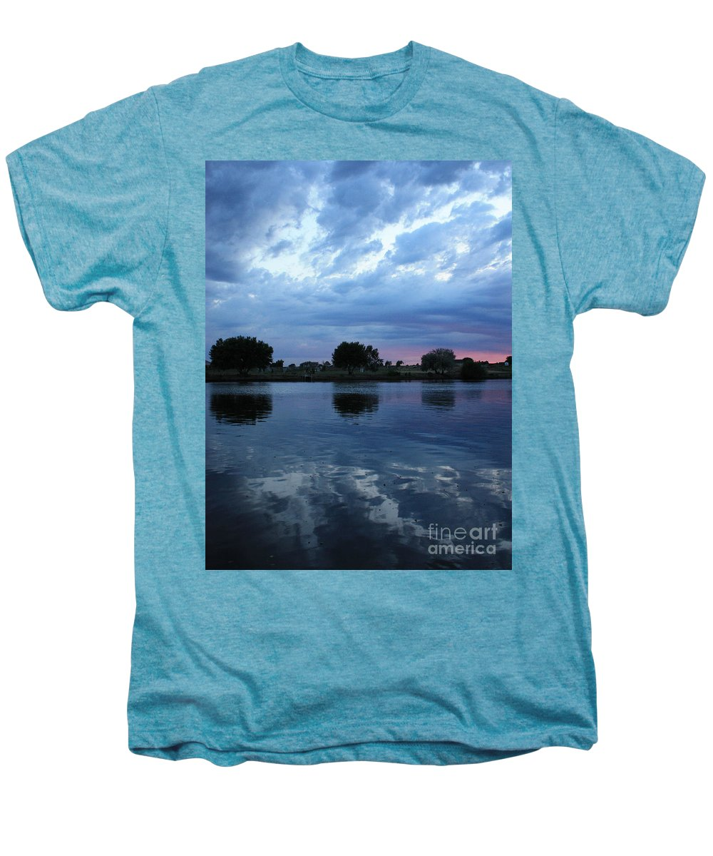 Blue Men's Premium T-Shirt featuring the photograph Summer Sunset On Yakima River 5 by Carol Groenen