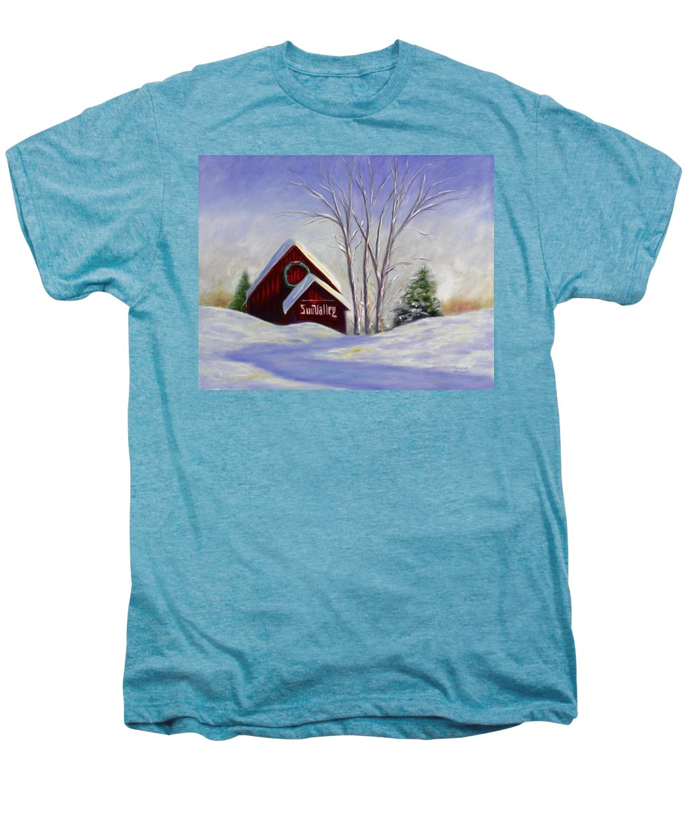 Landscape White Men's Premium T-Shirt featuring the painting Sun Valley 1 by Shannon Grissom