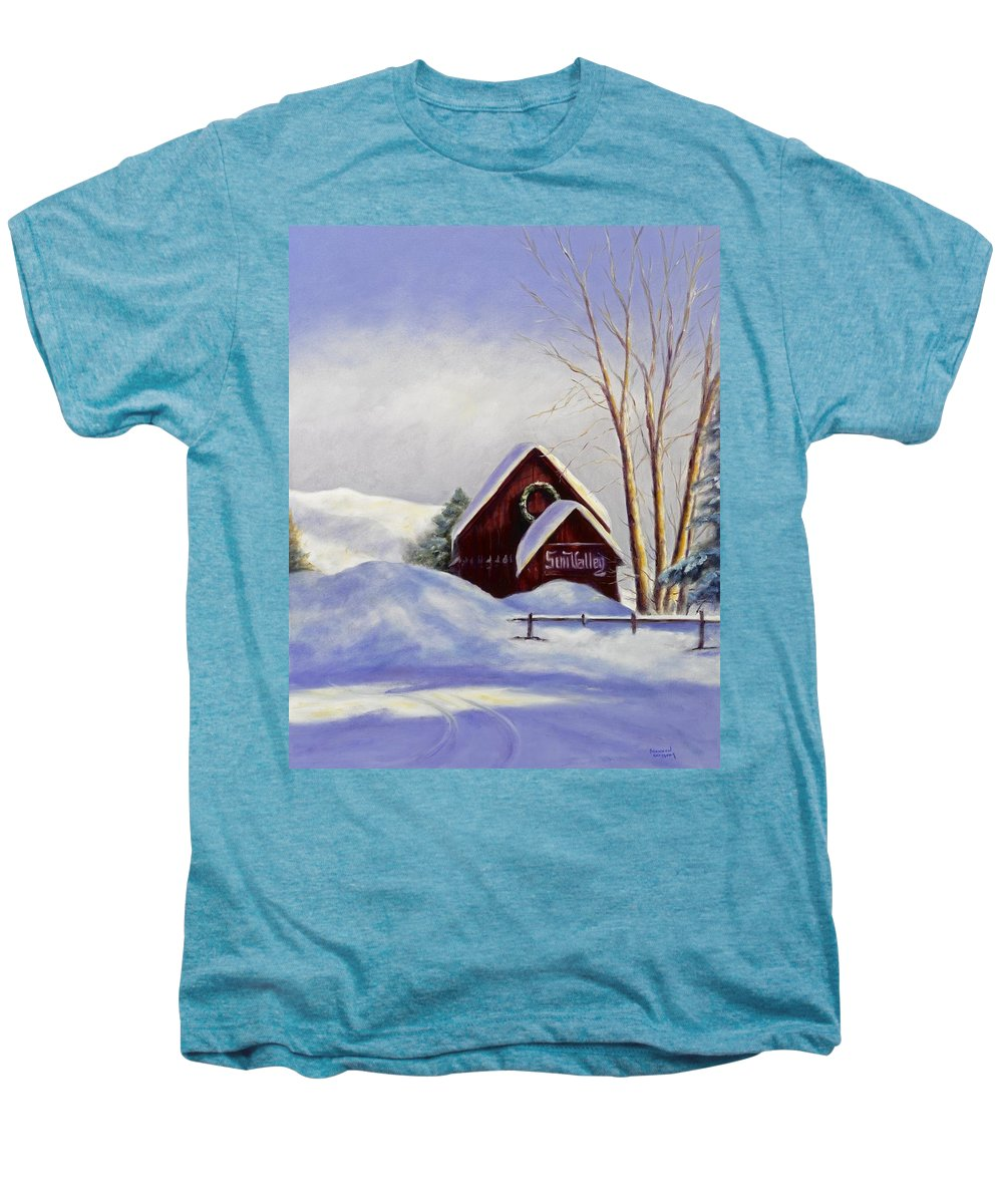 Landscape Men's Premium T-Shirt featuring the painting Sun Valley 2 by Shannon Grissom
