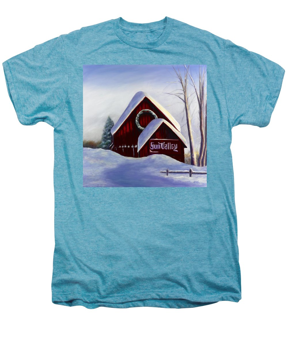 Landscape Men's Premium T-Shirt featuring the painting Sun Valley 3 by Shannon Grissom