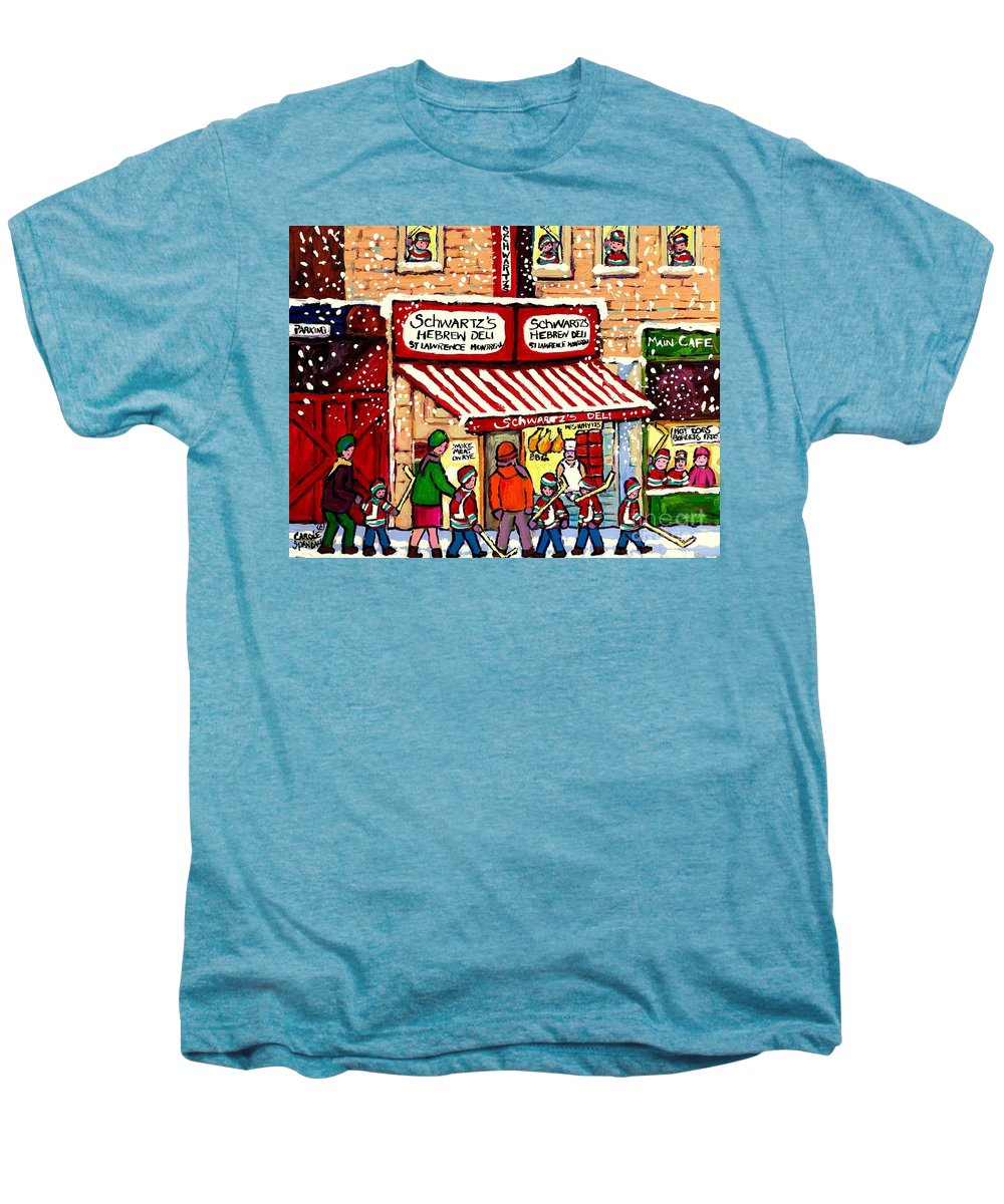Montreal Men's Premium T-Shirt featuring the painting Sunday Lineup At The Deli by Carole Spandau
