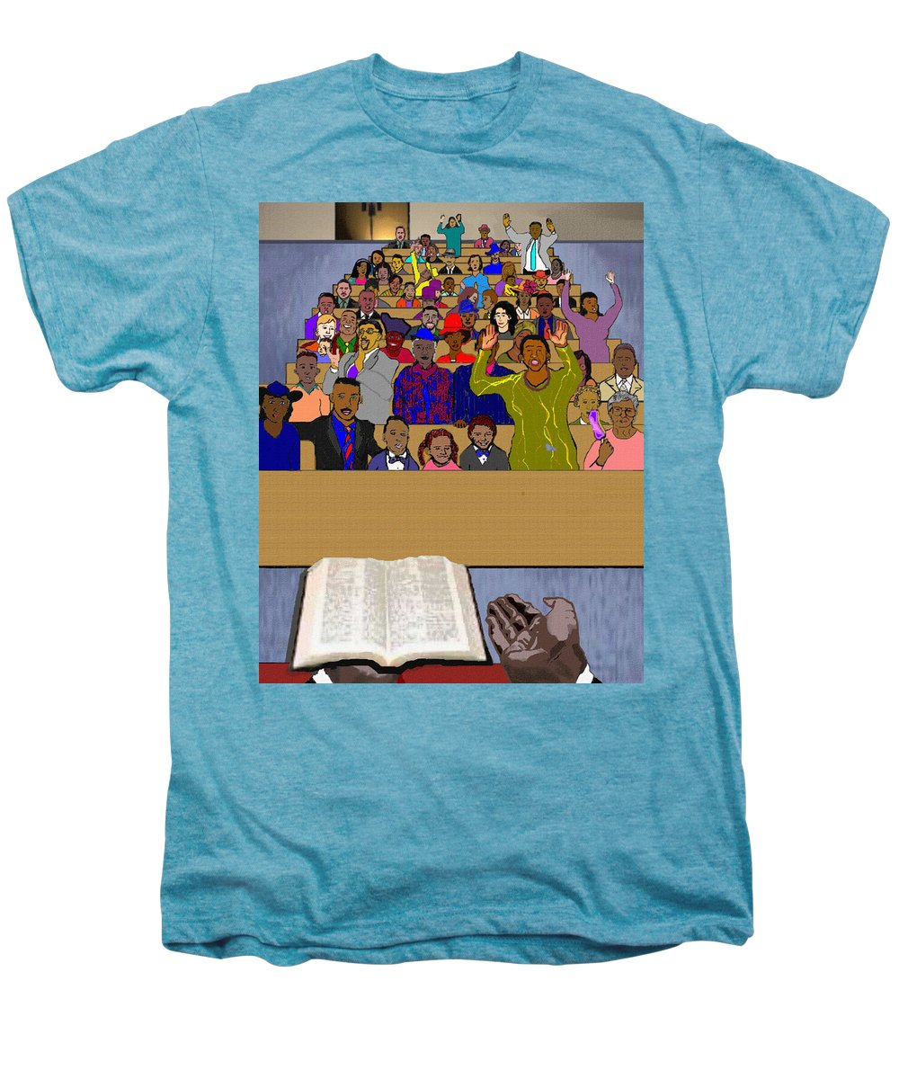 Sermon Men's Premium T-Shirt featuring the painting Sunday Sermon by Pharris Art