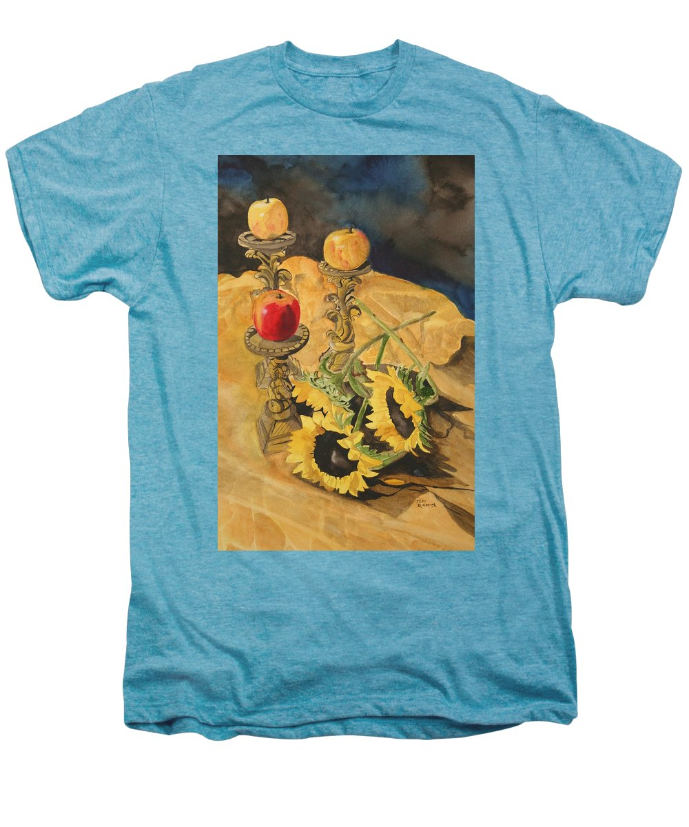 Still Life Men's Premium T-Shirt featuring the painting Sunflowers And Apples by Jean Blackmer