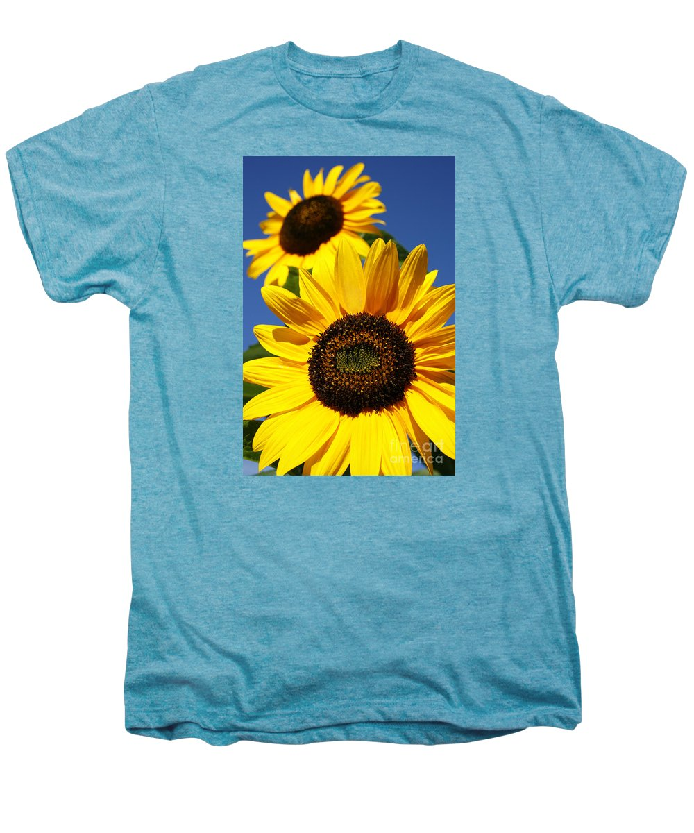 Sunflowers Men's Premium T-Shirt featuring the photograph Sunflowers by Gaspar Avila
