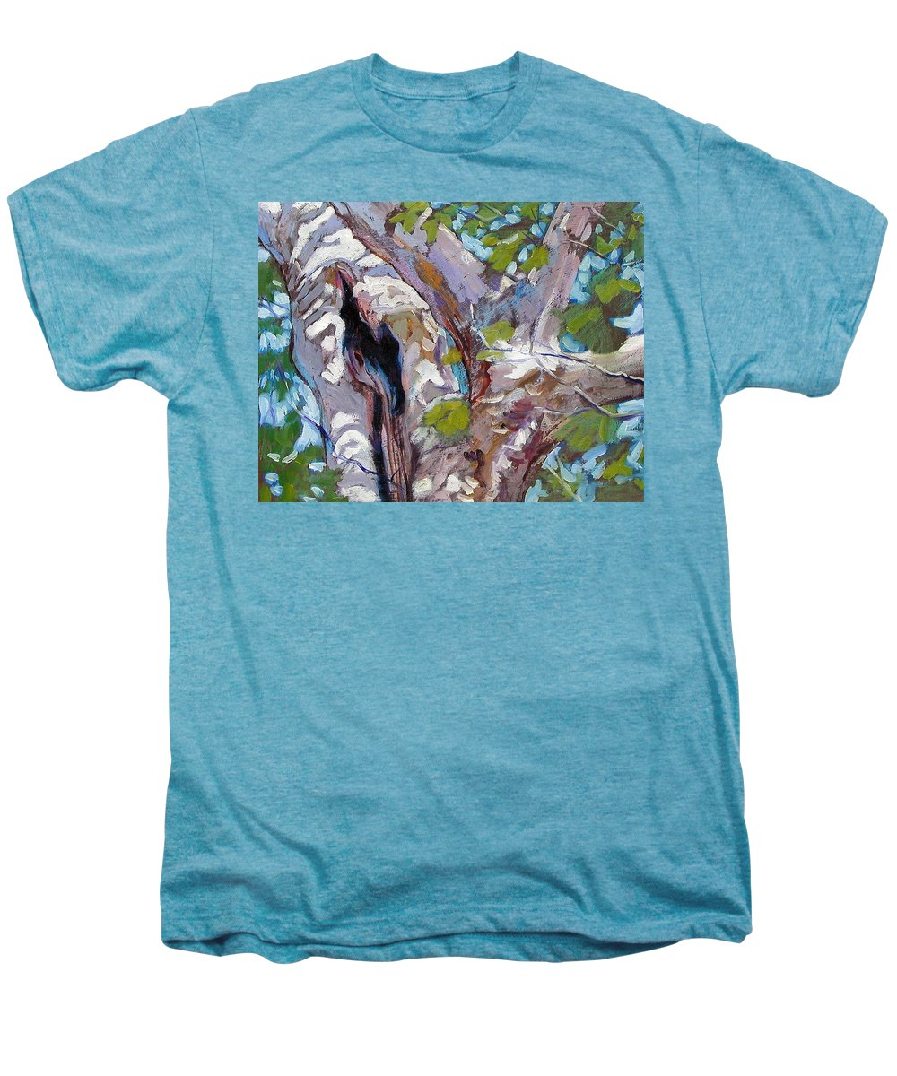 Tree Men's Premium T-Shirt featuring the painting Sunlight On Sycamore by John Lautermilch