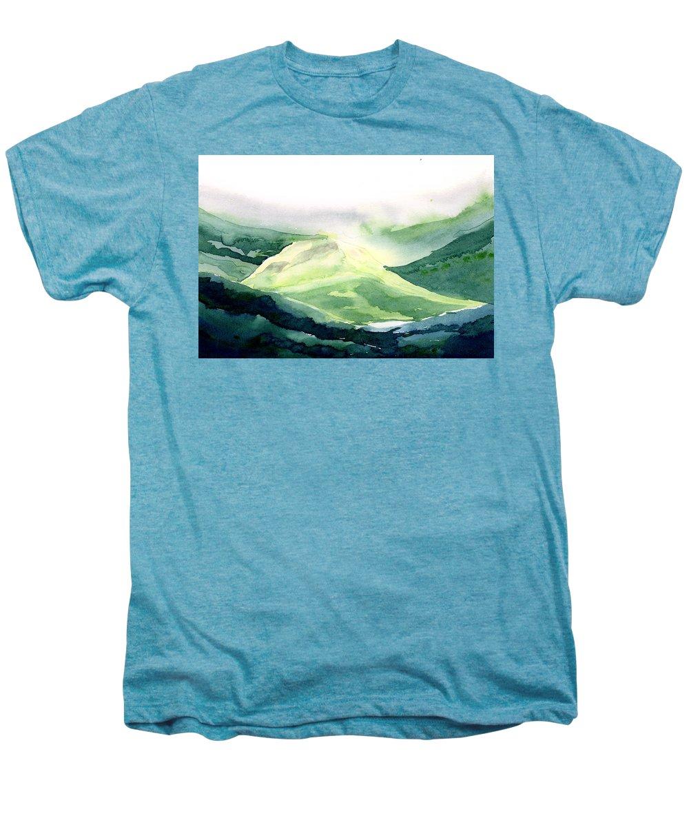 Landscape Men's Premium T-Shirt featuring the painting Sunlit Mountain by Anil Nene
