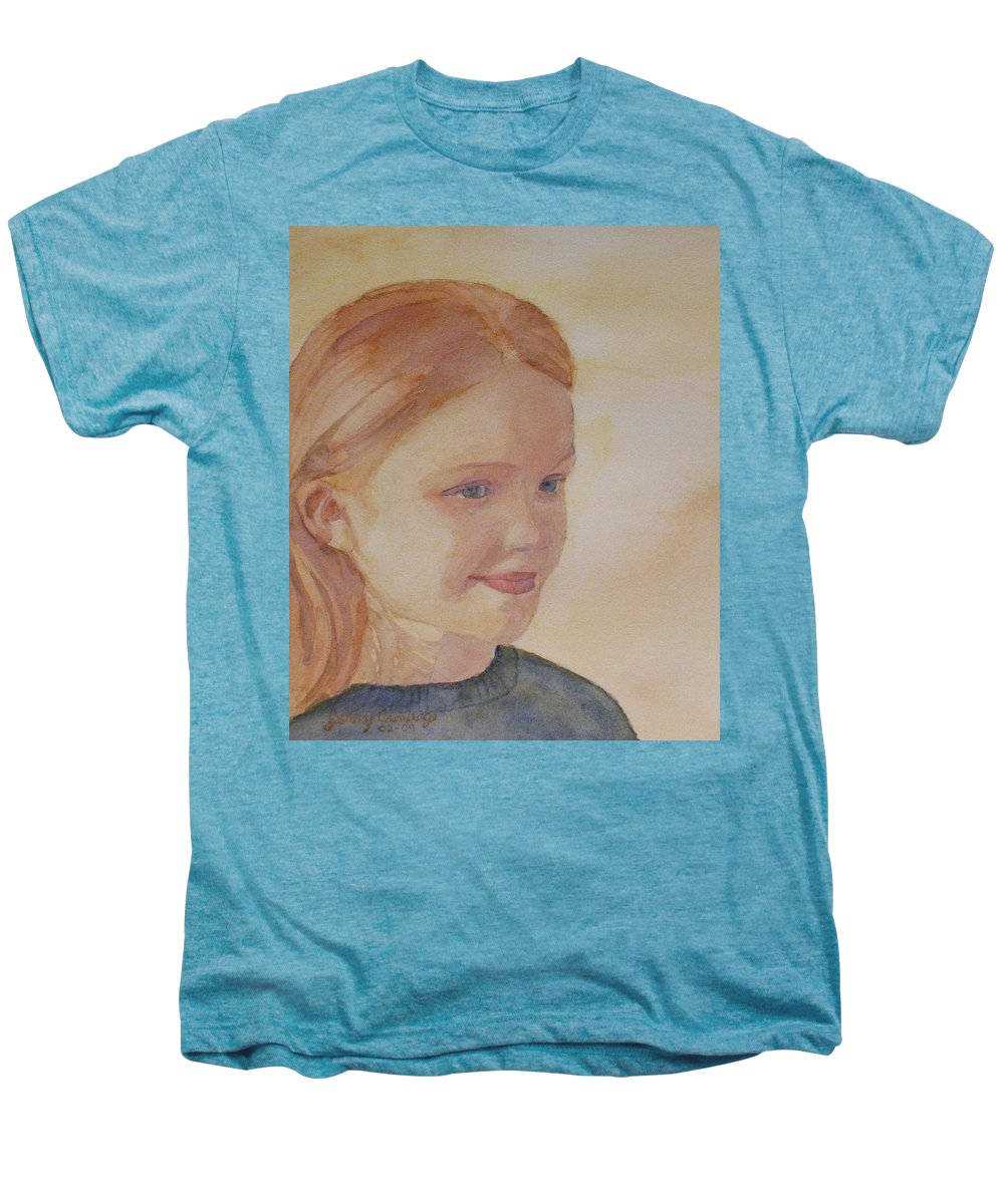 Girl Men's Premium T-Shirt featuring the painting Sunnie Birdie by Jenny Armitage
