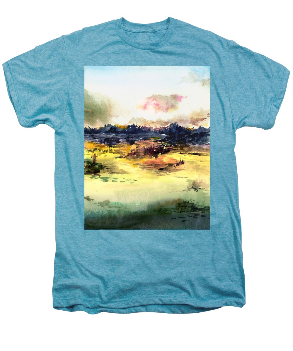 Landscape Water Color Sky Sunrise Water Watercolor Digital Mixed Media Men's Premium T-Shirt featuring the painting Sunrise by Anil Nene