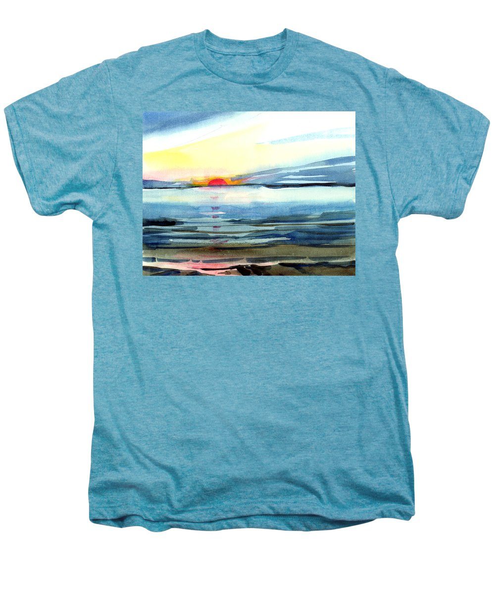 Landscape Seascape Ocean Water Watercolor Sunset Men's Premium T-Shirt featuring the painting Sunset by Anil Nene