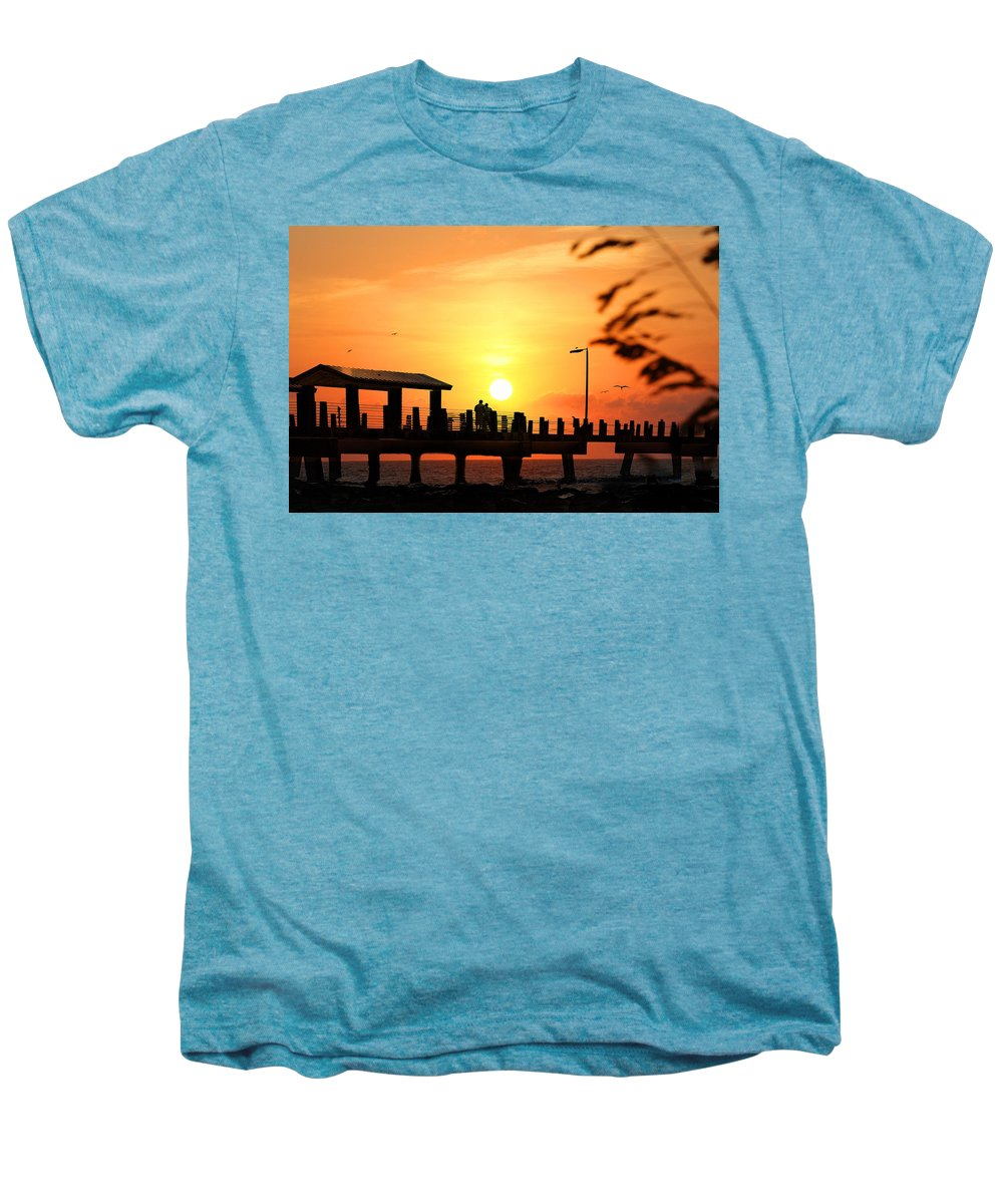 Fort De Soto Men's Premium T-Shirt featuring the photograph Sunset At Fort De Soto Fishing Pier Pinellas County Park St. Petersburg Florida by Mal Bray