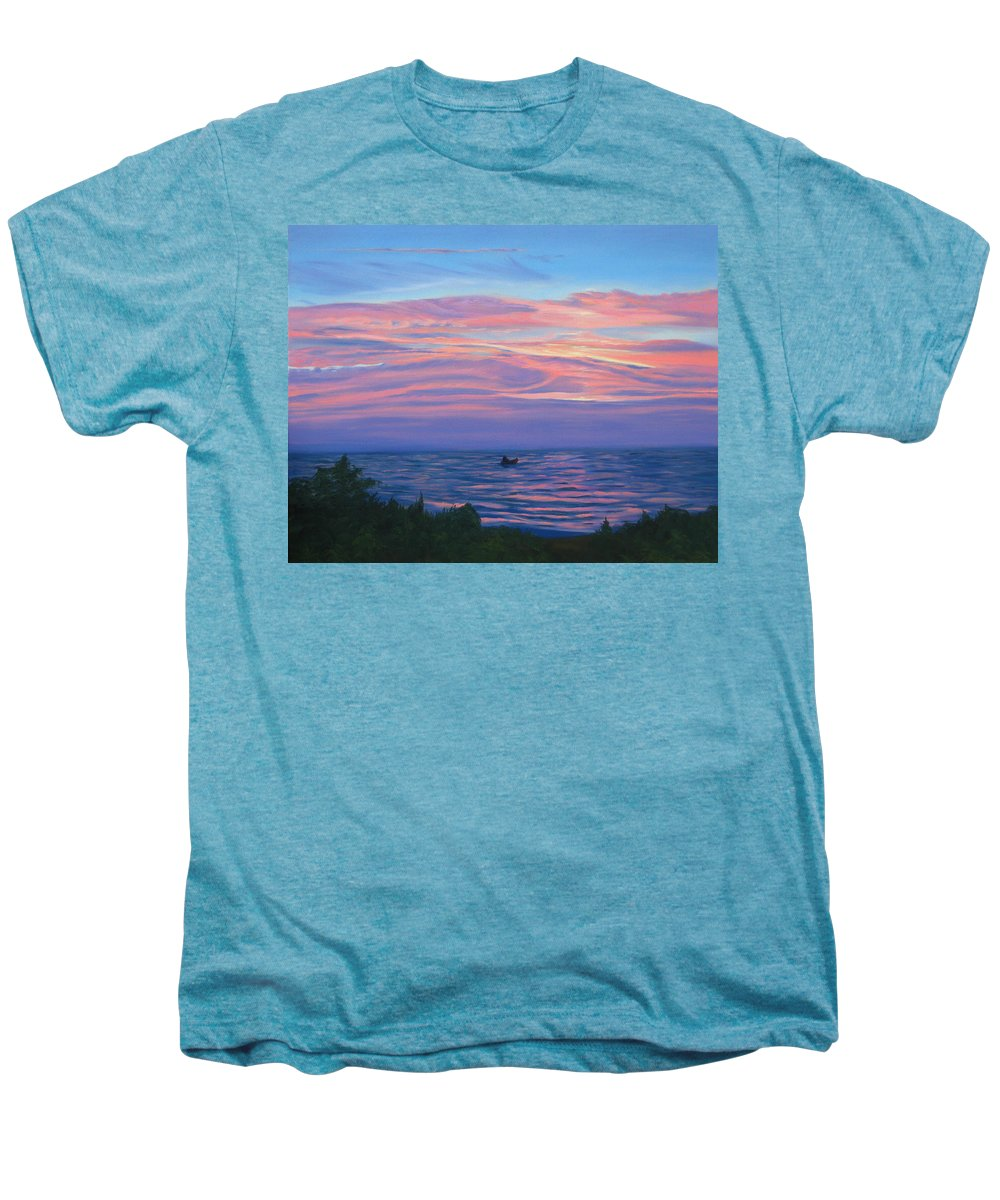 Seascape Men's Premium T-Shirt featuring the painting Sunset Bay by Lea Novak