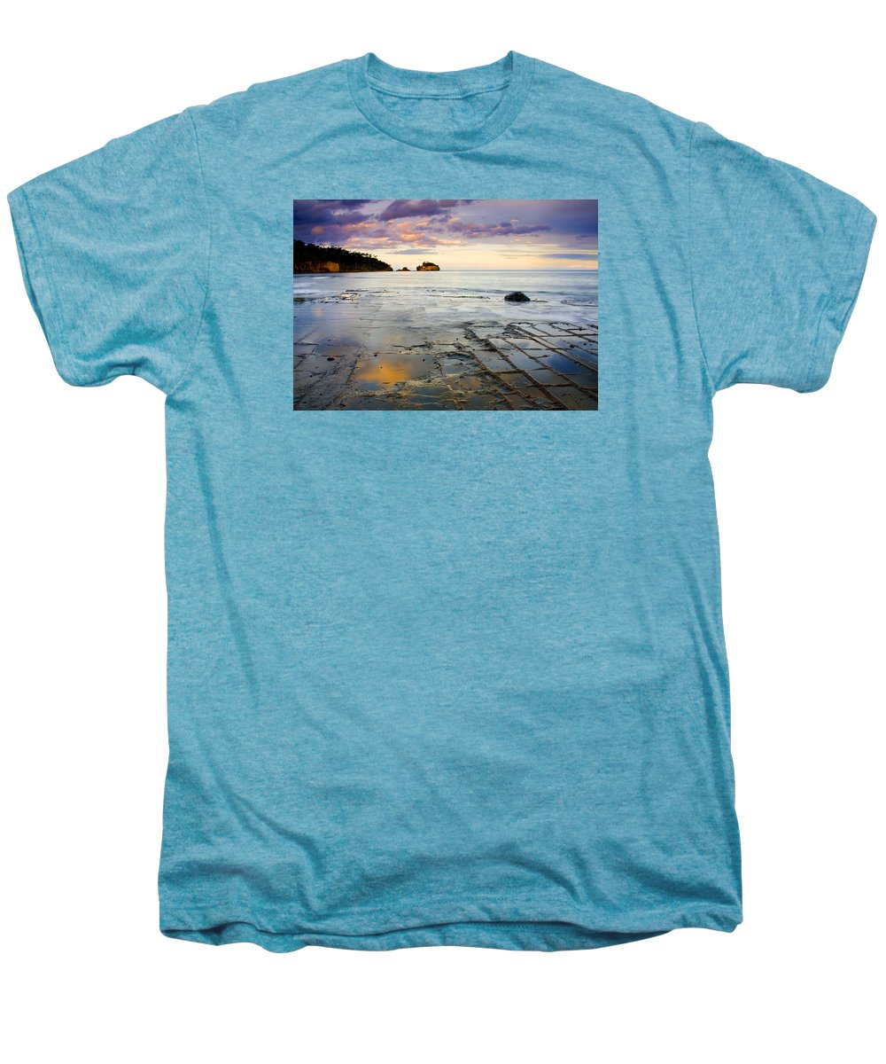 Tesselated Pavement Men's Premium T-Shirt featuring the photograph Sunset Grid by Mike Dawson