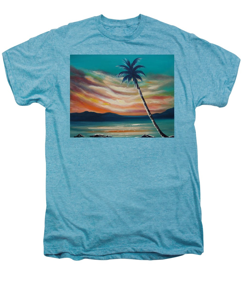 Sunset Men's Premium T-Shirt featuring the painting Sunset In Paradise by Gina De Gorna