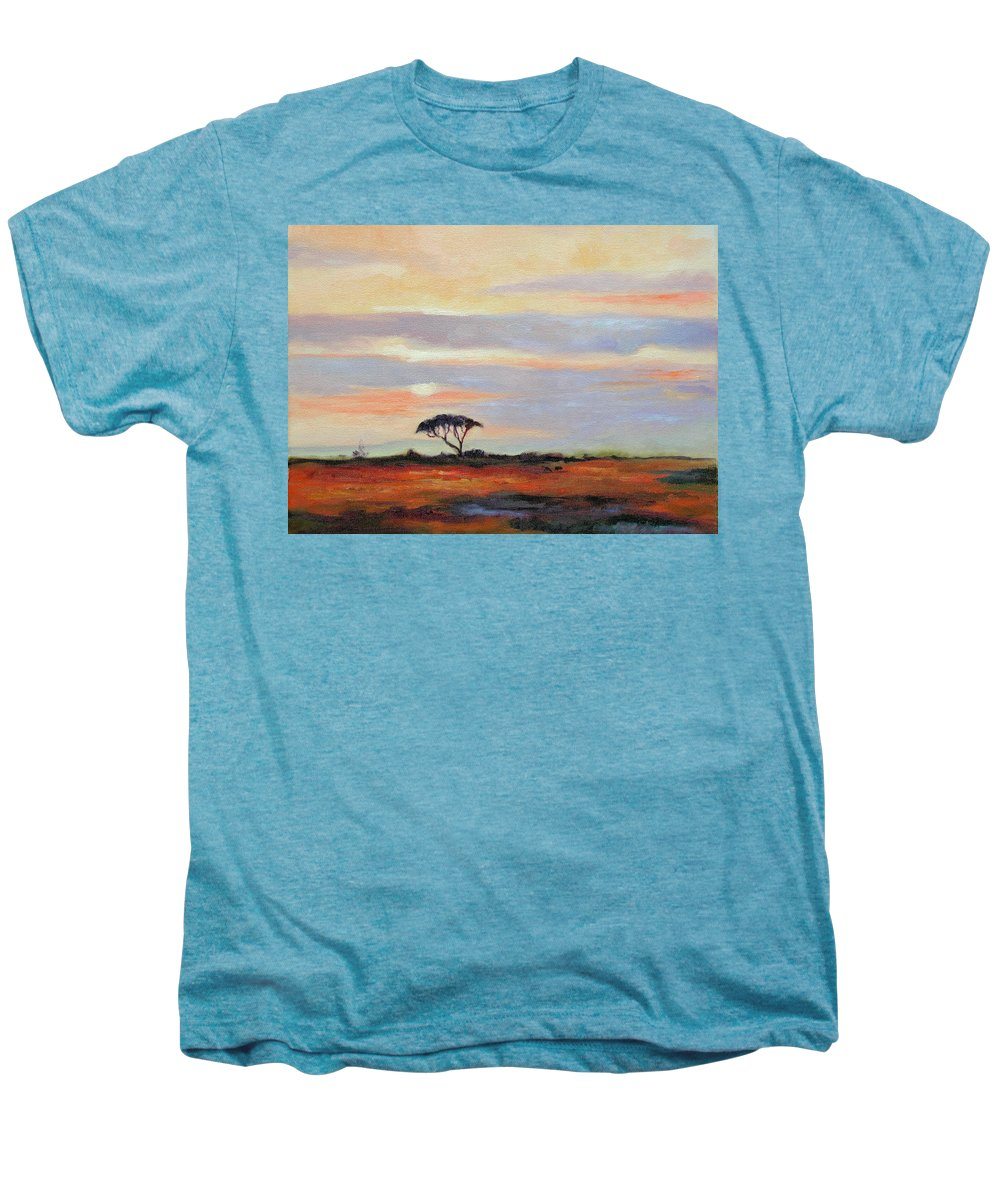 Landscape Men's Premium T-Shirt featuring the painting Sunset On The Serengheti by Ginger Concepcion