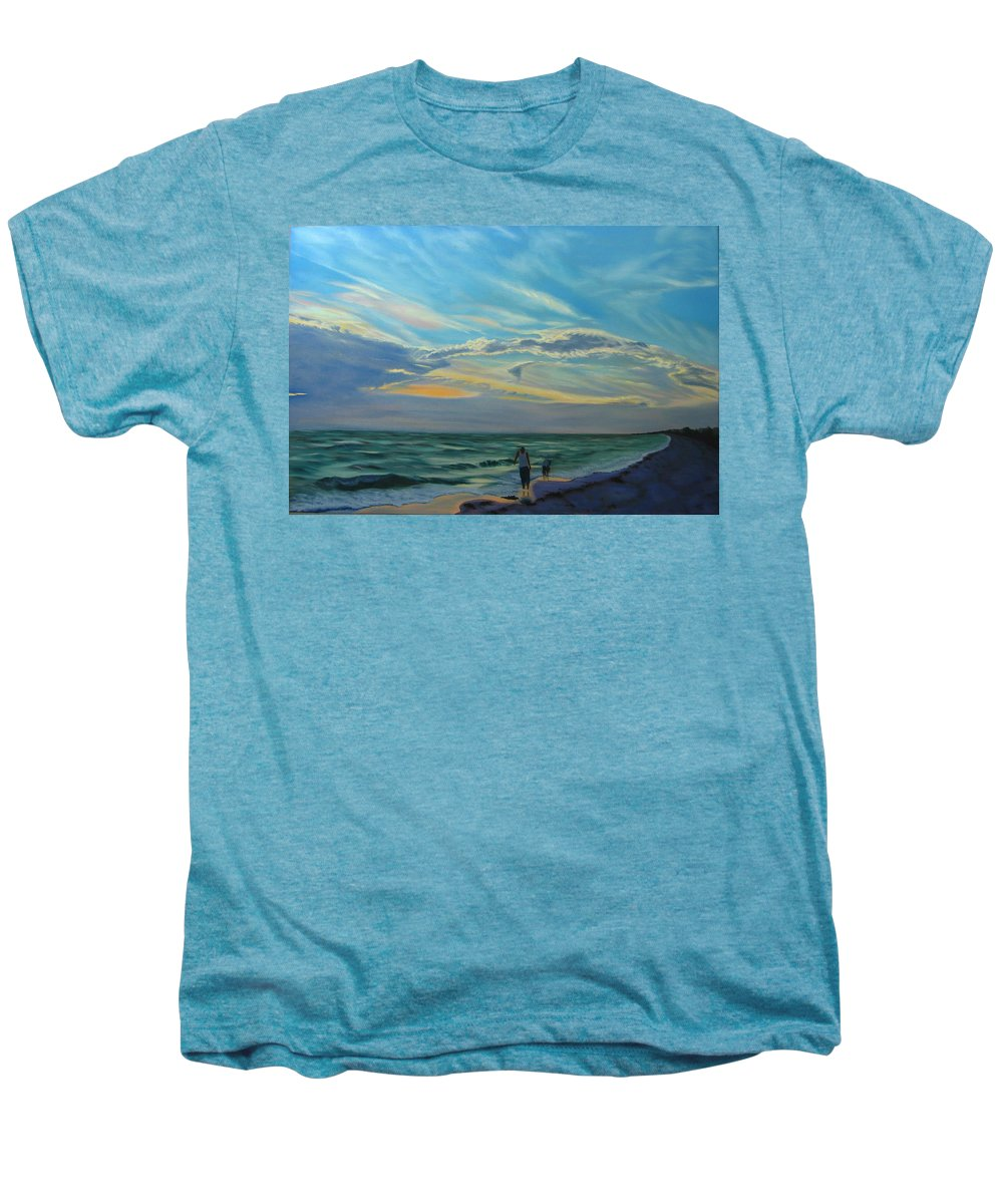 Seascape Men's Premium T-Shirt featuring the painting Sunset Treasure Hunt by Lea Novak