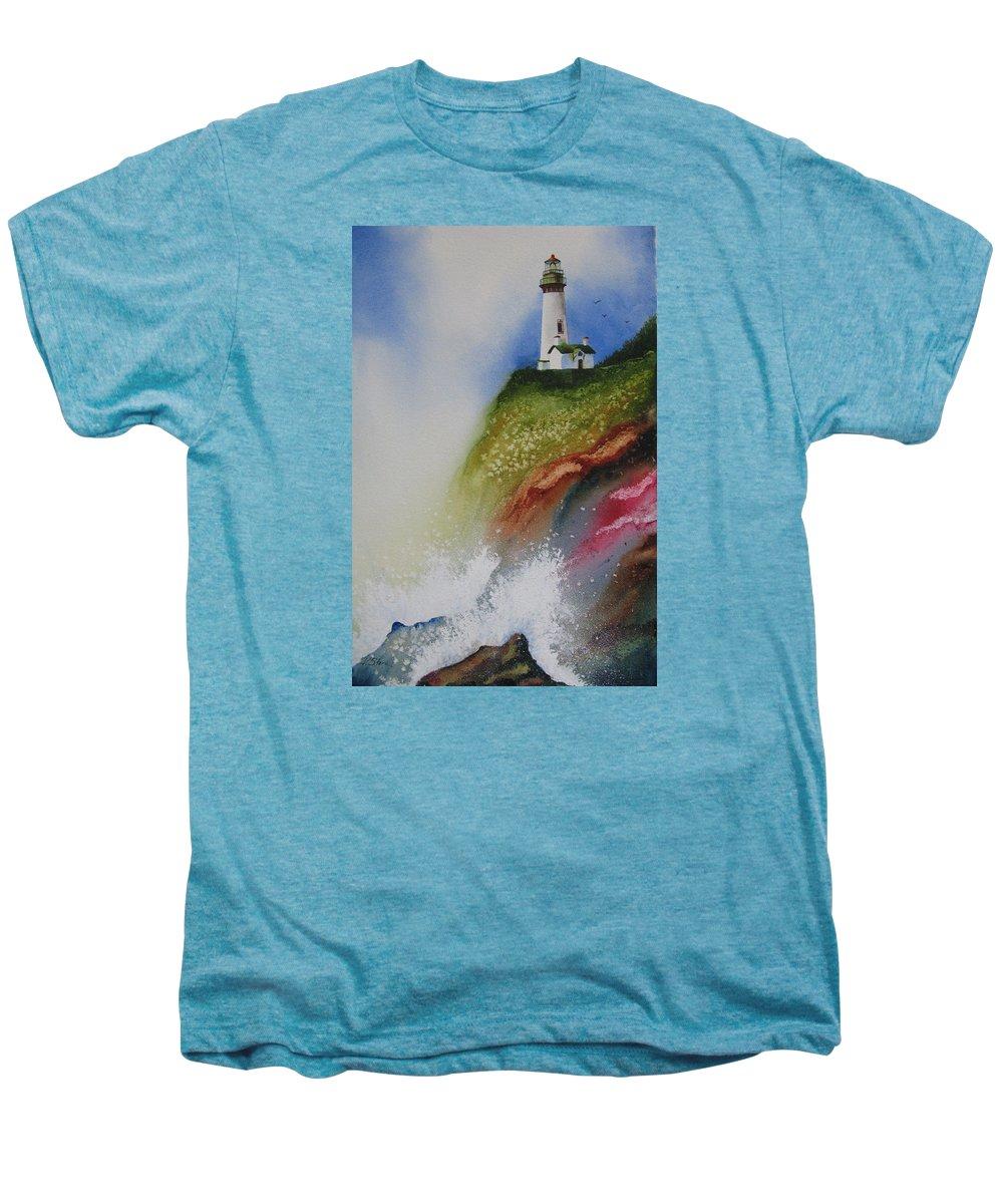 Lighthouse Men's Premium T-Shirt featuring the painting Surfside by Karen Stark