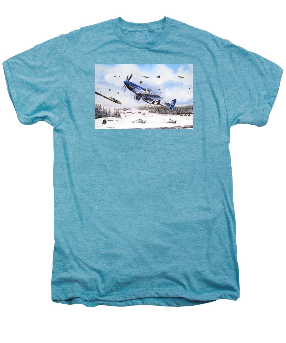 Aviation Men's Premium T-Shirt featuring the painting Surprise At Asch by Marc Stewart