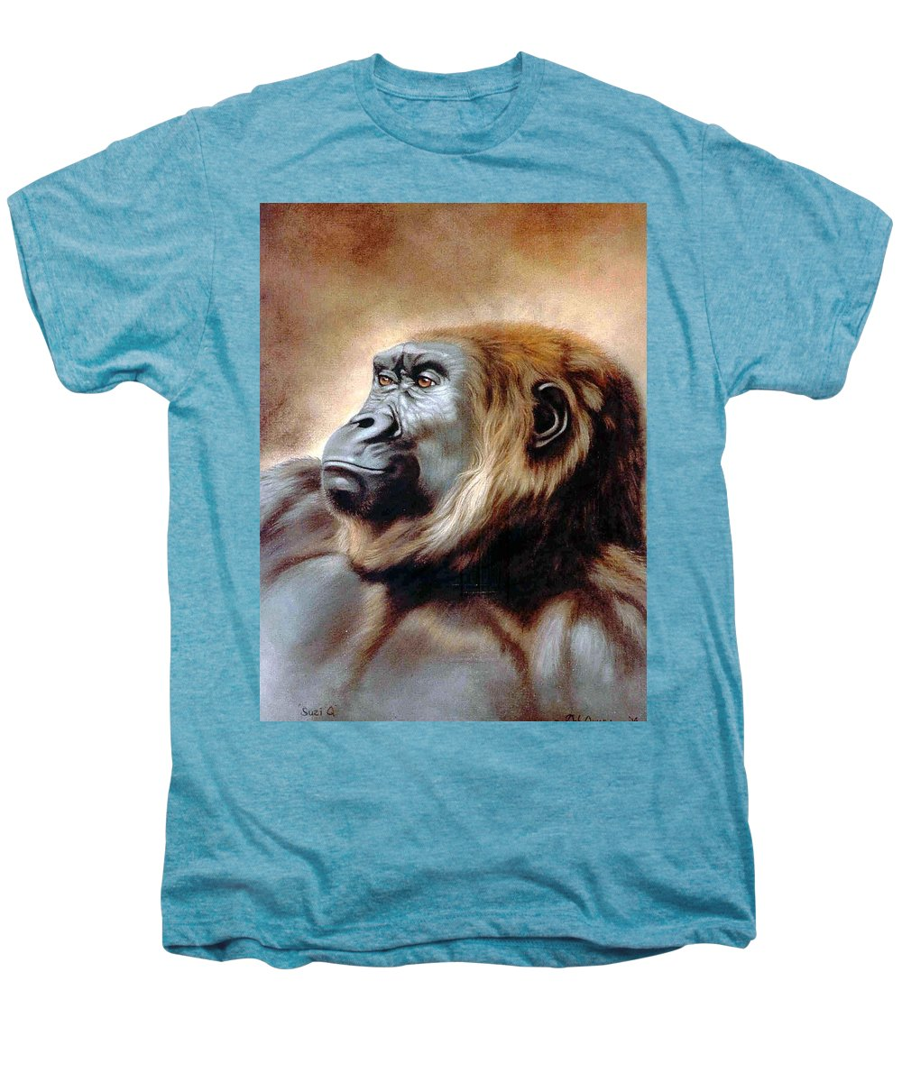 Gorilla Men's Premium T-Shirt featuring the painting Suzie Q by Deb Owens-Lowe