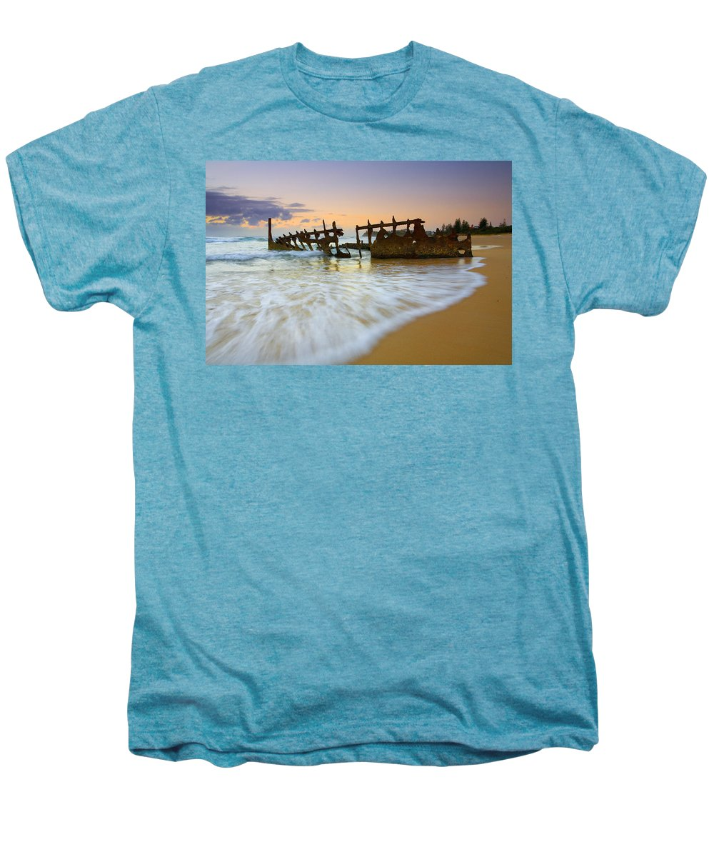 Shipwreck Men's Premium T-Shirt featuring the photograph Swallowed By The Tides by Mike Dawson